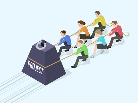 Illustrazione per Group of office workers pushing the giant weight with the Project inscription. Conceptual illustration suitable for advertising and promotion - Immagini Royalty Free