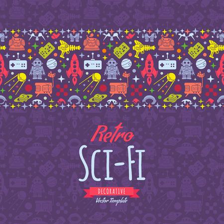 Illustration pour Retro Sci-Fi vector decorating design. Colorful card template with copy space - image libre de droit