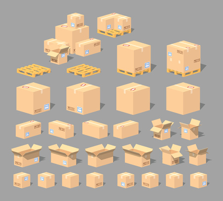 Illustration for Cube World. 3D lowpoly isometric cardboard boxes. The set of objects isolated against the gray background and shown from different sides - Royalty Free Image