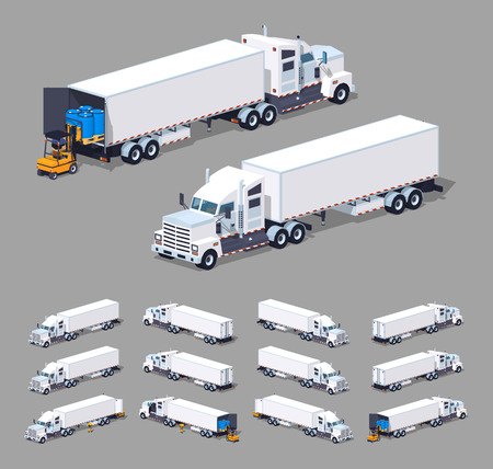 Illustration pour Heavy american white truck with the trailer. 3D lowpoly isometric vector illustration. The set of objects isolated against the grey background and shown from different sides - image libre de droit