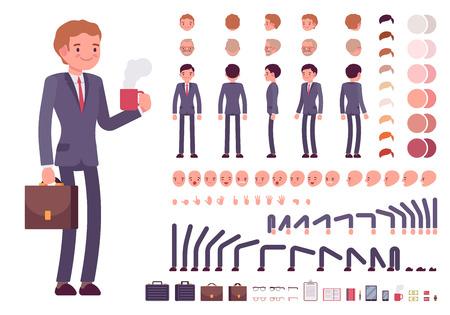 Illustration pour Businessman character creation set. Build your own design. Cartoon vector flat-style infographic illustration - image libre de droit