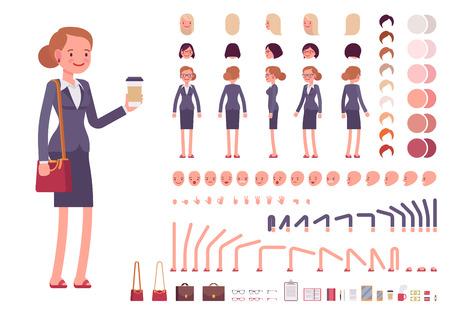 Illustration pour Businesswoman character creation set. Build your own design. Cartoon vector flat-style infographic illustration - image libre de droit