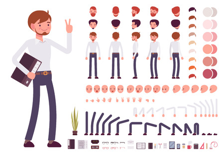 Illustration pour Male clerk character creation set. Build your own design. Cartoon vector flat-style infographic illustration - image libre de droit
