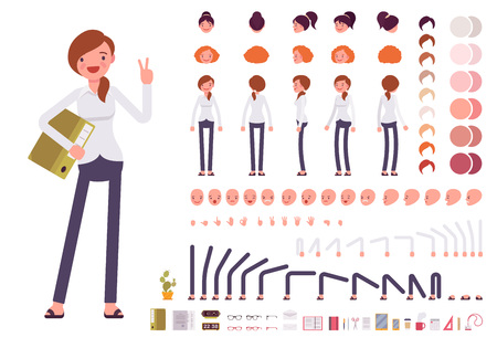 Illustrazione per Female clerk character creation set. Build your own design. Cartoon vector flat-style infographic illustration - Immagini Royalty Free