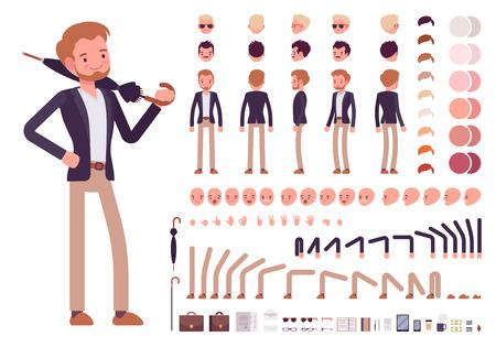 Illustration pour Smart casual male character creation set. Build your own design. Cartoon vector flat-style infographic illustration - image libre de droit