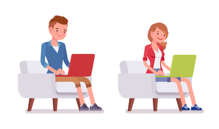 Illustration pour Set of male and female millennial, sitting pose - image libre de droit