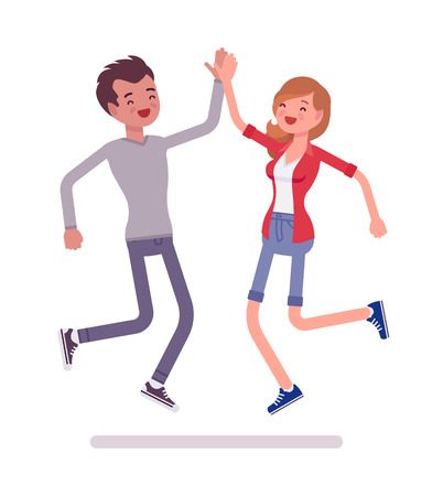 Illustration pour Young man and woman jumping giving high five - image libre de droit