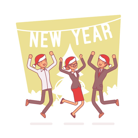 Foto für New Year office party. Lineart concept illustration - Lizenzfreies Bild
