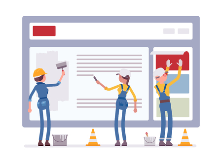 Photo pour Website under construction. Workers in uniform recovering web site with error message connection, file is not found information. Vector flat style cartoon illustration isolated on white background - image libre de droit