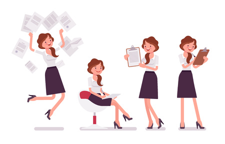 Ilustración de Sexy secretary busy with paperwork. Elegant female office assistant working with documents, making notes. Business administration. Vector flat style cartoon illustration isolated on white background - Imagen libre de derechos