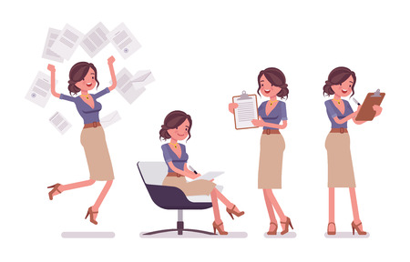Illustration pour Sexy secretary busy with paperwork isolated on a white background - image libre de droit