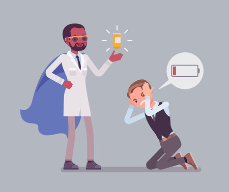Illustration for Doping for male clerk. Office worker exhausted with routine, worn out, weary, at power limit and zero productivity getting a drug from doctor to raise strength. Vector flat style cartoon illustration - Royalty Free Image