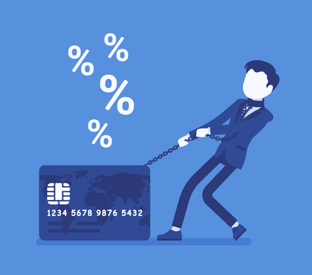 Illustrazione per Credit card, male cardholder percentage rate problem. Man frustrated with card debt burden, consumer in difficult financial situation unable to pay. Vector illustration with faceless characters - Immagini Royalty Free