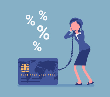 Illustrazione per Credit card, female cardholder percentage rate problem. Woman frustrated with heaviest card debt burden, consumer, difficult financial situation unable to pay. Vector illustration, faceless characters - Immagini Royalty Free