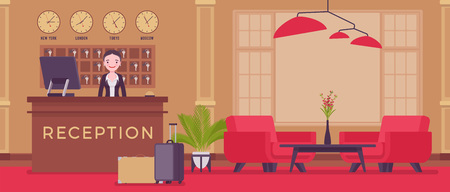 Ilustración de Hotel receptionist in lobby at front desk. Young attractive woman in reception area, greets and deals with clients, city visitors, interior and service for travellers and tourists. Vector illustration - Imagen libre de derechos