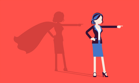 Illustrazione per Super businesswoman in hero pose. Successful female manager admired for courage, outstanding business achievements, shadow cloak, pride, self-satisfaction. Vector illustration, faceless characters - Immagini Royalty Free