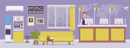 Illustrazione per Bank office and male professional manager. Financial center modern corporate interior design, young man working in a banking branch, employee to deal with services and customers. Vector illustration - Immagini Royalty Free