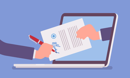 Illustration pour Electronic signature on laptop. Business Esignature technology, digital form attached to electronically transmitted document, verification of intent to sign agreement, legal deal. Vector illustration - image libre de droit