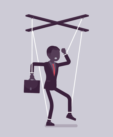 Illustrazione per Marionette businessman, manipulated or controlled puppet worked by strings. Male manager under boss influence, power to perform business orders, make decisions. Vector illustration, faceless character - Immagini Royalty Free