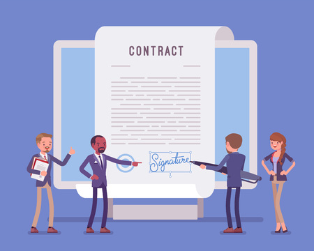 Illustrazione per Electronic document signature, contract page on screen. Business people sign official paper, formal agreement, businessman with giant pen putting name as a form of identification. Vector illustration - Immagini Royalty Free