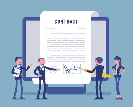 Illustrazione per Electronic document signature, contract page on screen. Business people sign official paper, formal agreement, businessman with giant pen putting name. Vector illustration, faceless characters - Immagini Royalty Free