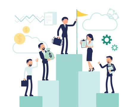 Illustrazione per Top of career symbol. Business people progress to reach high position, managers in accomplishment of an aim or purpose, corporate motivation. Vector abstract illustration with faceless character - Immagini Royalty Free