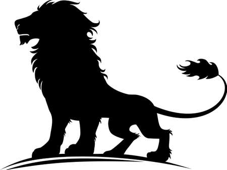 Vector illustration of a silhouette of a proud lion