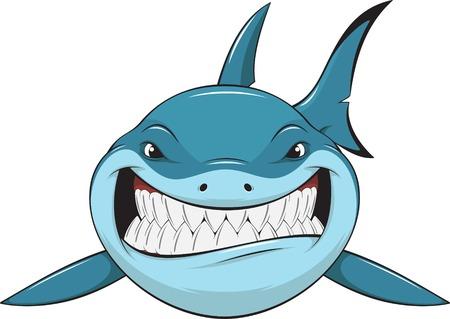 Ilustración de Vector illustration: toothy white shark - Imagen libre de derechos