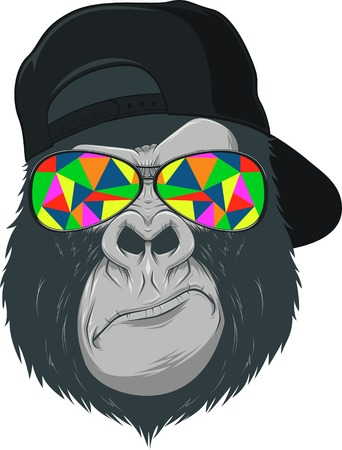 Ilustración de illustration, funny monkey with glasses - Imagen libre de derechos