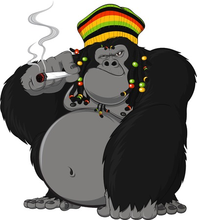 Illustration pour Vector illustration of gorilla Rastafarian smoking a cigarette - image libre de droit