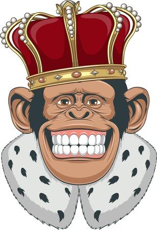 Illustration pour Vector illustration, formidable monkey in a crown - image libre de droit