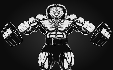 Illustration pour illustration of an angry lion with a barbell - image libre de droit