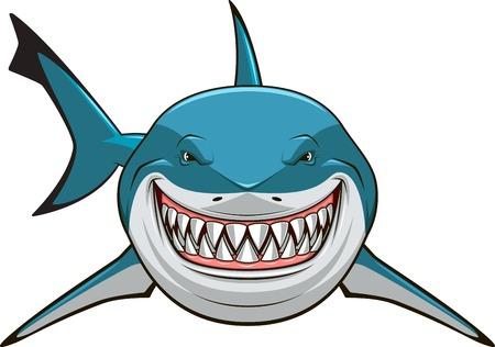 Ilustración de Vector illustration, toothy white shark - Imagen libre de derechos