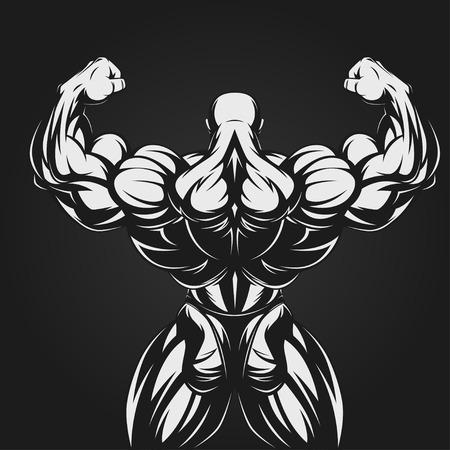Illustration pour Bodybuilder showing muscles, illustration vektor - image libre de droit
