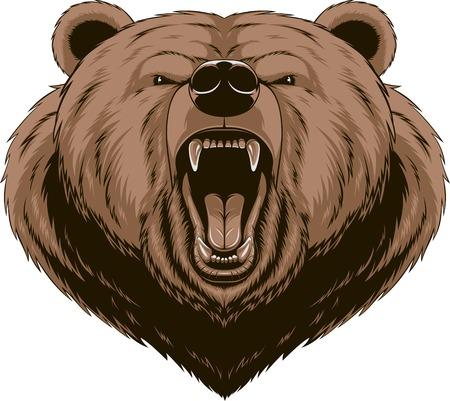Illustration pour Vector illustration, Angry bear head mascot - image libre de droit