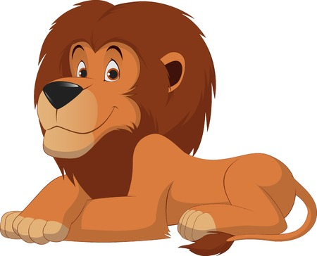 Illustration for Vector illustration, funny lion on a white background - Royalty Free Image