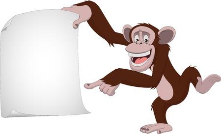 Ilustración de Vector illustration, funny chimpanzee on a white background, cartoon - Imagen libre de derechos