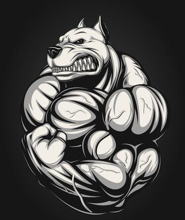 Ilustración de Vector illustration of a strong  pitbull with big biceps - Imagen libre de derechos