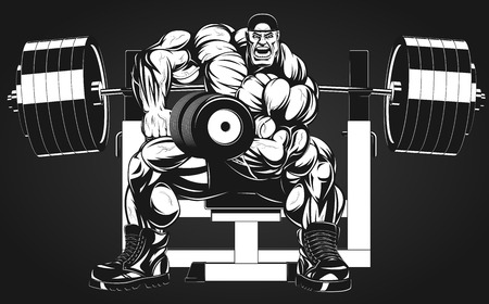Foto de Vector illustration, bodybuilder doing exercise with dumbbells for biceps - Imagen libre de derechos