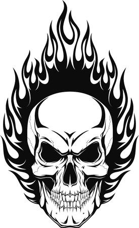 Ilustración de Vector illustration of a human skull with flames - Imagen libre de derechos