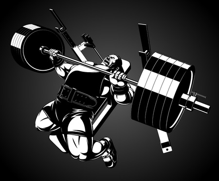 Illustration for Vector illustration, bodybuilder performs an exercise with a barbell - Royalty Free Image