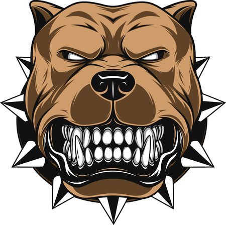 Illustrazione per illustration Angry dog mascot head, on a white background - Immagini Royalty Free