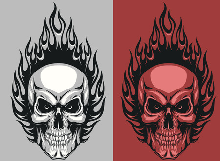 Illustration for Vector illustration of a human skull with flames - Royalty Free Image