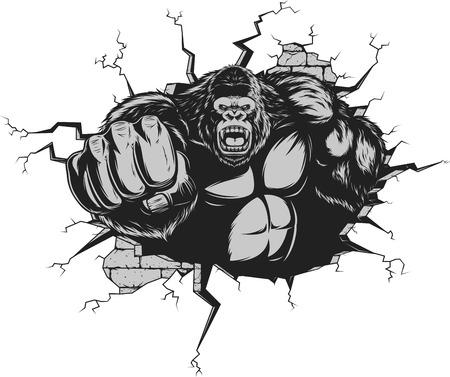Illustrazione per Vector illustration, ferocious gorilla hit the wall with his fist - Immagini Royalty Free
