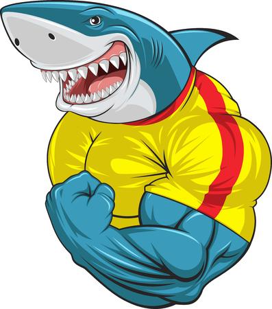 Ilustración de Vector illustration, toothy shark shows great biceps - Imagen libre de derechos