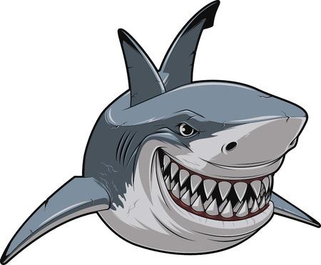 Ilustración de Vector illustration, toothy smiling white shark swims - Imagen libre de derechos
