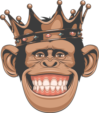 Illustrazione per Vector illustration, funny chimpanzees in the crown - Immagini Royalty Free