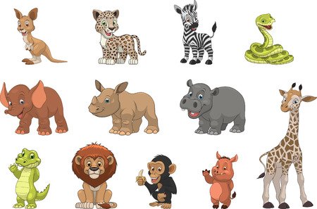 Photo pour Vector illustration set of funny exotic animals - image libre de droit