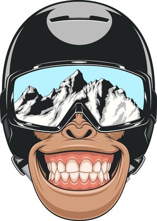 Illustration pour Vector illustration of a chimpanzee wearing a helmet for snowboarding - image libre de droit