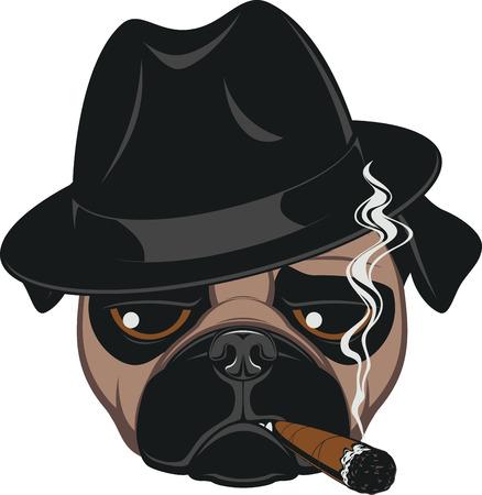 Ilustración de Portrait of Pug-dog with Cigar, Cool Guy, Gangster Look - Imagen libre de derechos